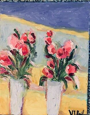 "Two Spring Flower Vases An  Original Oil Painting 14""x11"
