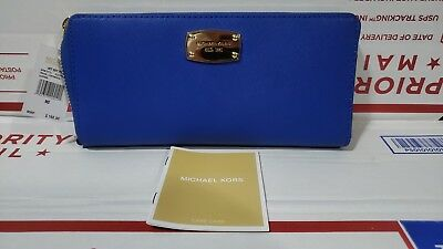 Michael Kors Jet Set Za Travel Continental Saffiano Leather Wallet Electric Blue
