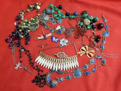 Job lot vintage costume jewellery assorted Some wearable some spares or repair
