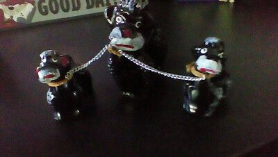 Japan~Porcelain~Black White French Poodle Dog Chained w/Puppy Figurines Kitsch