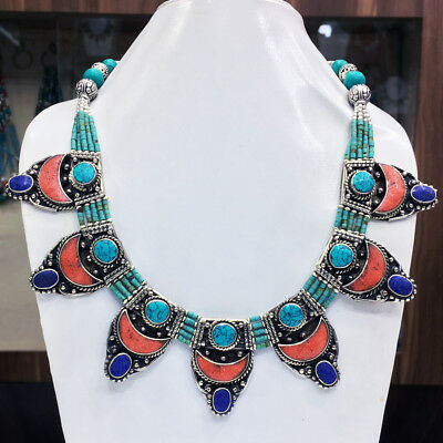 OCT54 - Turquoise & coral Tribal Bohemian Big Necklace