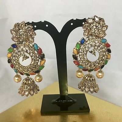 8f83d0e84f8e1 MULTI COLOUR & gold pearl jhumka earrings pakistani indian jewellery  bollywood