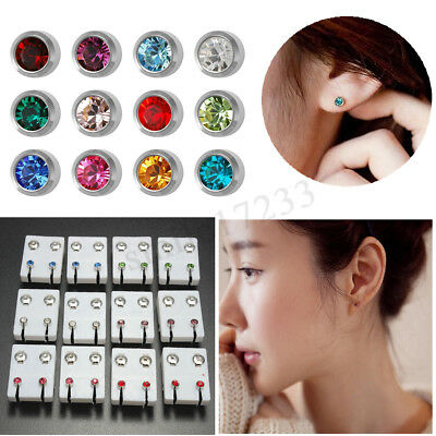 12 coppia antiallergici in acciaio strass Stud Ear Piercing pistola Earing strum