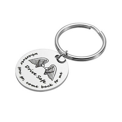 Driver Safe Letter Tag Angles Wings Pattern Round Keychain For Best Friends one