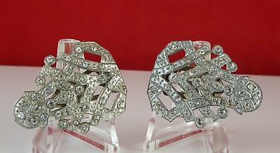 VINTAGE DRESS CLIP Clear RHINESTONES ART DECO INCHES 2 inches Pair