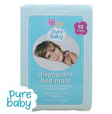Pure Baby x10 Disposable Bed Mats Training Sheets Absorbent Travel /Home 90x60cm