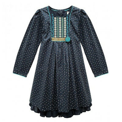 Domino Girl's 100% cotton Long Sleeve Embroidered & Sequin Party Dress 3-11 Year