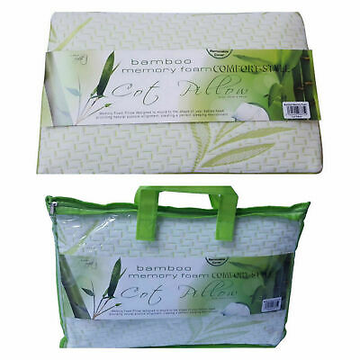 New Bamboo Memory Foam Contour Cot Pillow 27x42cm **Free Removable Cover**