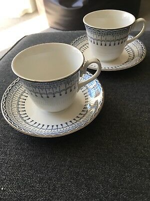 Vintage Ridgway Staffordshire 1732 Blue & White Venetian Teacups And Saucers X2