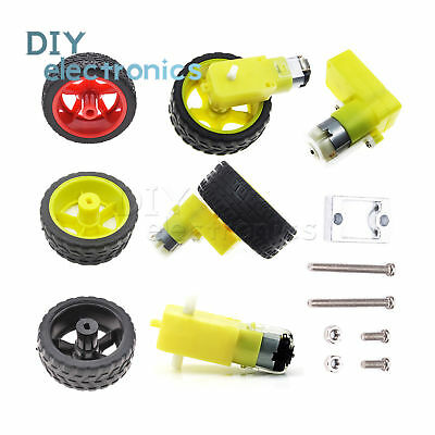 Smart Car Robot Plastic Tire Wheel with DC 3-6/12V Gear Motor For Arduino Robot