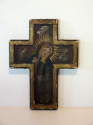 Antique One-Of-A-Kind Mexican Our Lady of Sorrows Retablo On Wood Cross Unique!