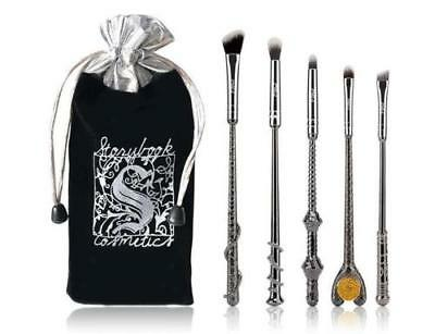NEW 5pc BLACK METAL Harry Potter Wizard Wand Vanity Makeup Brush Set - US SELLER