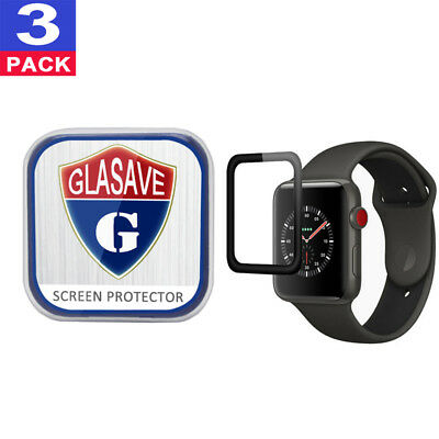 """(3Pack) GLASAVE Apple watch 1 2 3 38mm """"3D CURVED"""" FULL Tempered Glass Protector"""