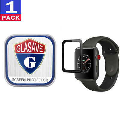 "GLASAVE Apple watch 1 2 3 42mm ""3D CURVED"" FULL COVER Tempered Glass Protector"