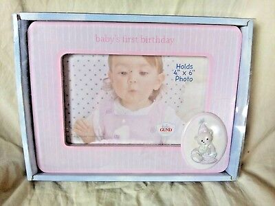 "Baby Gund My First Birthday Picture Frame 4"" x 6"" Girl Striped New in Package"