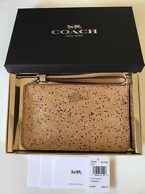 Authentic Coach Boxed Small Wristlet Corner Zip With Star Glitter F38641.