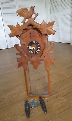 Antique Large Black Forest Musical Cuckoo & Quail Clock wth Bellows -To Restore