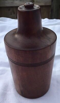 Vintage Glass Medicine Bottle With Treen Screw Top Bottle Case