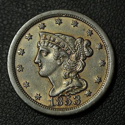 1853 Braided Hair Copper Half Cent - Cleaned