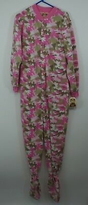 da3f7ab69972 Big Feet Pjs Pink Camo Fleece Adult Sleeper Footed Medium Pajamas