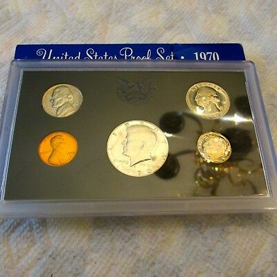 1970-S United States Mint 5 Coin Proof Set Original Box KENNEDY 1/2 $ 40% SILVER