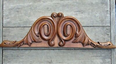 French Vintage Antique Pediment Fronton Plaque Wooden Carved Acanthus Scrolls #1