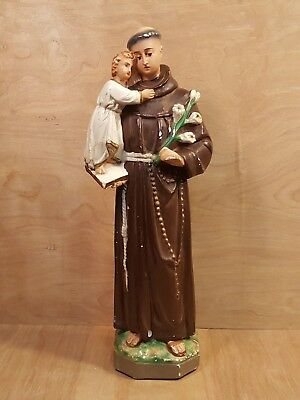 "Vintage SAINT ANTHONY Holding the Christ Child 17"" Chalkware STATUE Catholic"