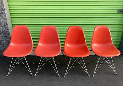 Set of 4! Authentic Vintage Herman Miller Eames Fliberglass side chairs new base