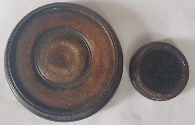 Two Old Wooden Stands Used For Bowls Vases Probably Oriental