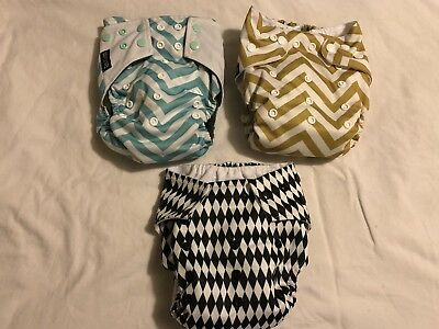 3 x Little Bloom And Baba Boom reusable nappies bundle. Birth To Potty Training.