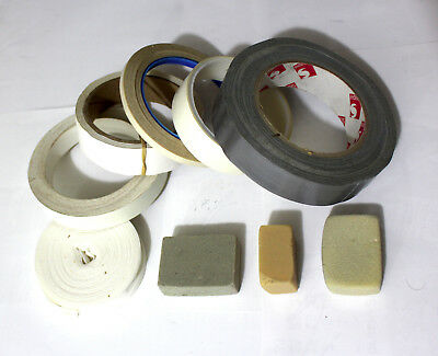 Lot of used materials and erasers for bookbinding and book repairs.