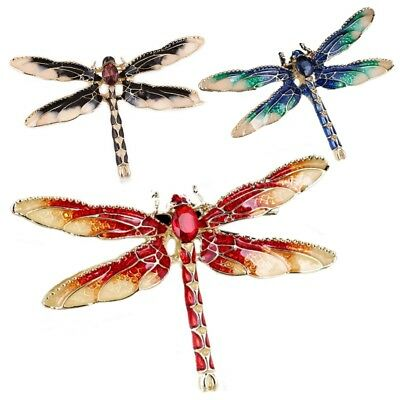Dragonfly Fly Brooch Pin Insect Crystal Enamel Prom Party FREE GIFT BAG