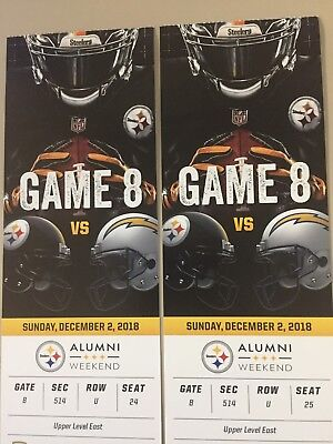 LA Chargers at Pittsburgh Steelers - Sunday, December 2, 2018 - 2 tickets