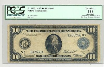 $100 Series 1914 Federal Reserve Note Richmond district PMG Very Good 10