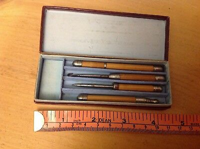 Antique wooden  Sewing Set Etui Needlecase stiletto pencil? button hook