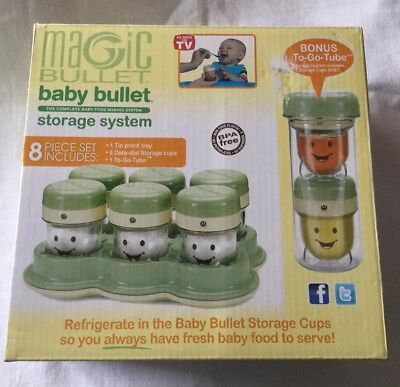 Magic Bullet BABY BULLET Storage System 8 Pieces + Bonus To Go Tube