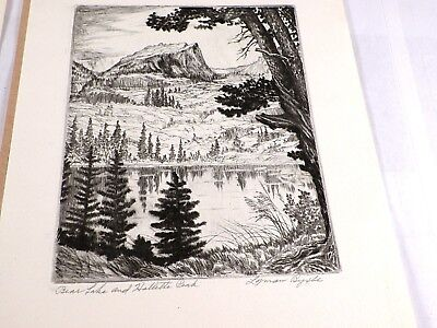 "Lyman Byxbe Etching Print Titled ""Bear Lake and Hallett's Park"" Signed"