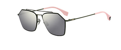 e36ebfb41562 Fendi FF M0022 S 1EDUE Sunglasses Green Frame Gray Flash Gold Mirror Lens  56mm