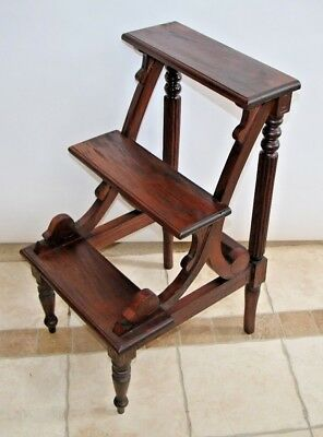 Gorgeous Antique English Victorian carved Mahogany three step library ladder