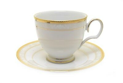 Noritake 4335 Hampshire Gold Footed Cup and Saucer - New