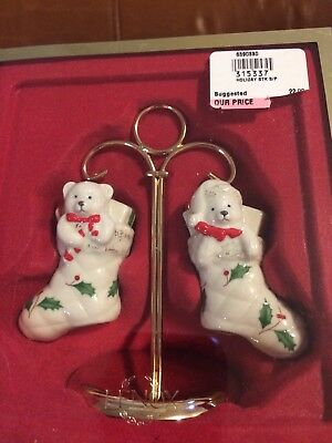 Lenox Christmas Stocking Salt and Pepper Shakers with Stand - New in Box