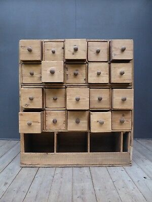 Antique Vintage Victorian Bank Of Rustic Pine Apothecary Drawers Industrial
