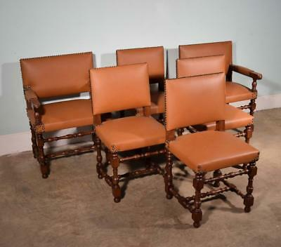 *Set of 6 Antique French Renaissance Revival Oak and Vinyl Chairs w/Armchairs