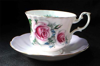Vintage ROYAL ALBERT Bone China England Pattern #4504 Pink ROSE Set Cup & Saucer