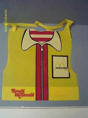 Vintage 1977 Ronald McDonald Plastic Yellow Children's Bib
