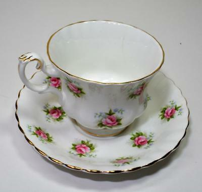 ROYAL ALBERT England FORGET ME NOT ROSE Set Cup Saucer Montrose shape haircrack