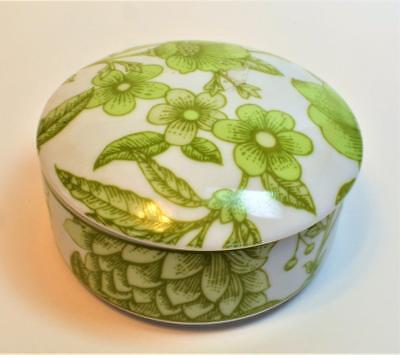 "Vtg TIFFANY & Co Clinique Designed Japan Green FLOWERS 4""d Round Trinket Box"