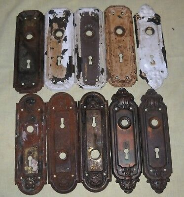 Craft Lot 10 Vintage Metal Door Knob Back Plates Ornamental Some Pairs