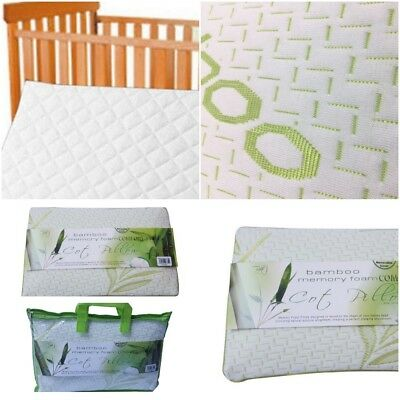 Bamboo Cot Bed Crib Mattress Pillow , 100% Memory Foam with Bamboo Cover