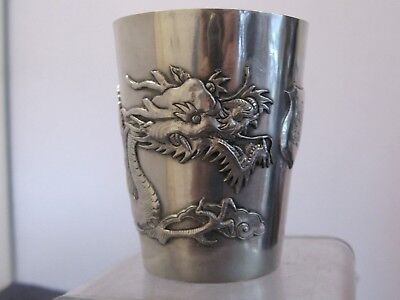 SOLID SILVER CHINESE EXPORT SILVER TIMBALE CHINA DRAGON 146g